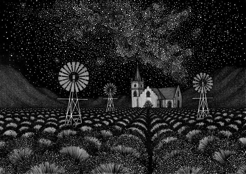 Lavender Field under African Starry Night Sky
